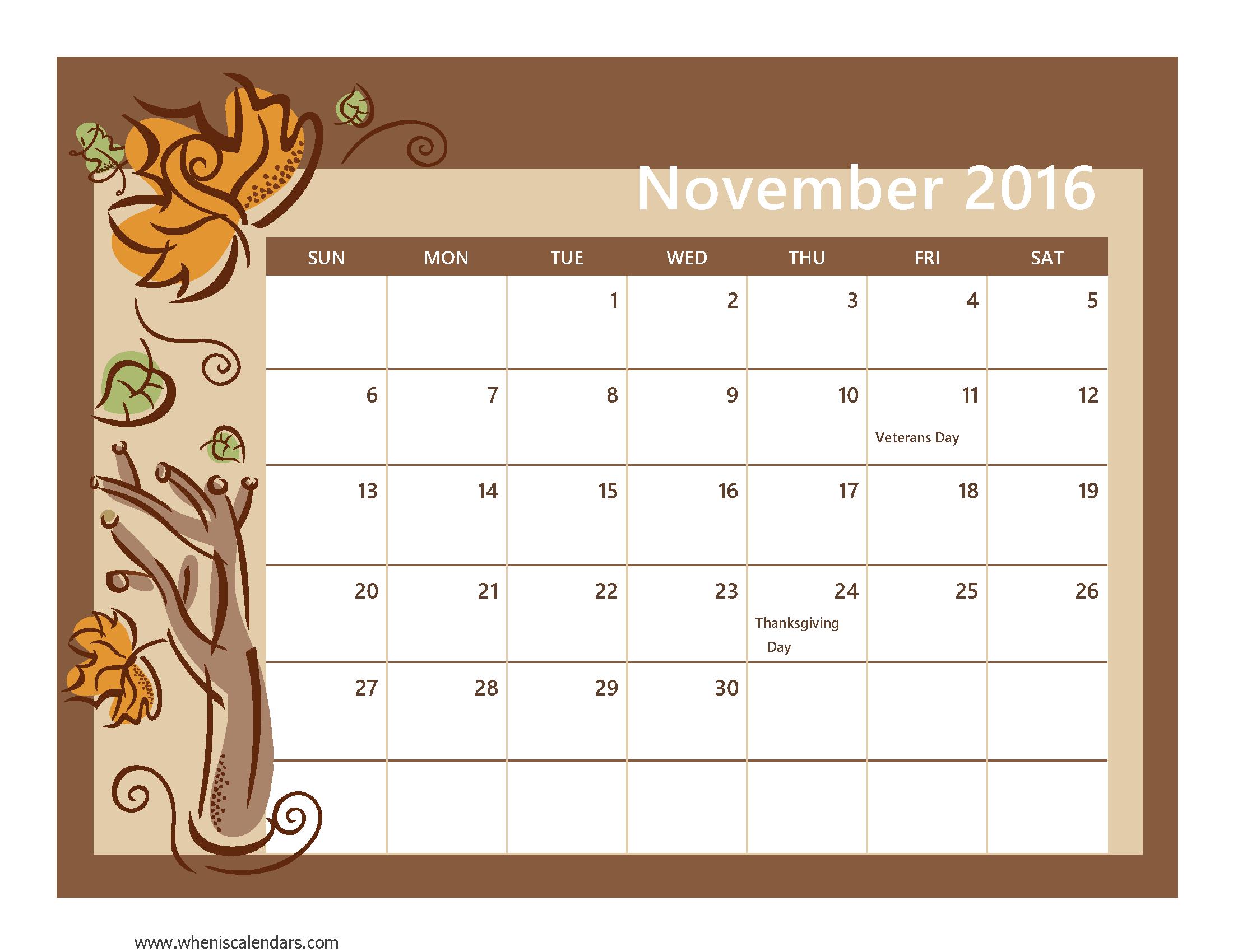 Monthly calendar november 2016 clipart.