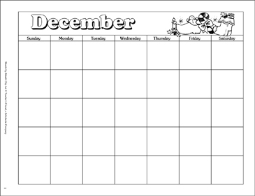 Clipart Printable December Calendar.
