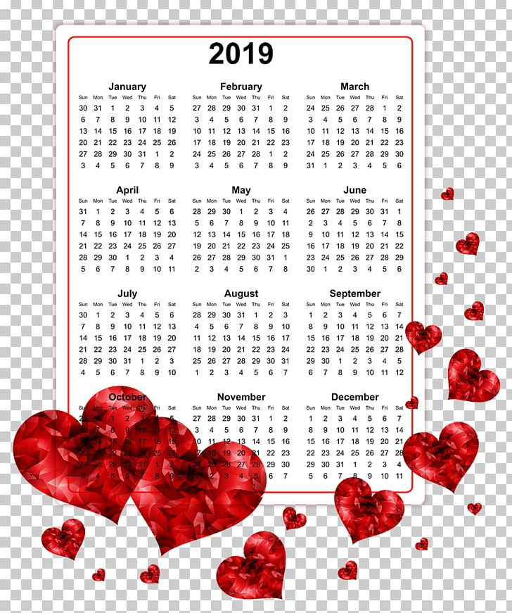 2019 Printable Calendars. PNG, Clipart, Calendar, Heart.