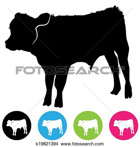 Clipart of Calf Silhouette k19821394.