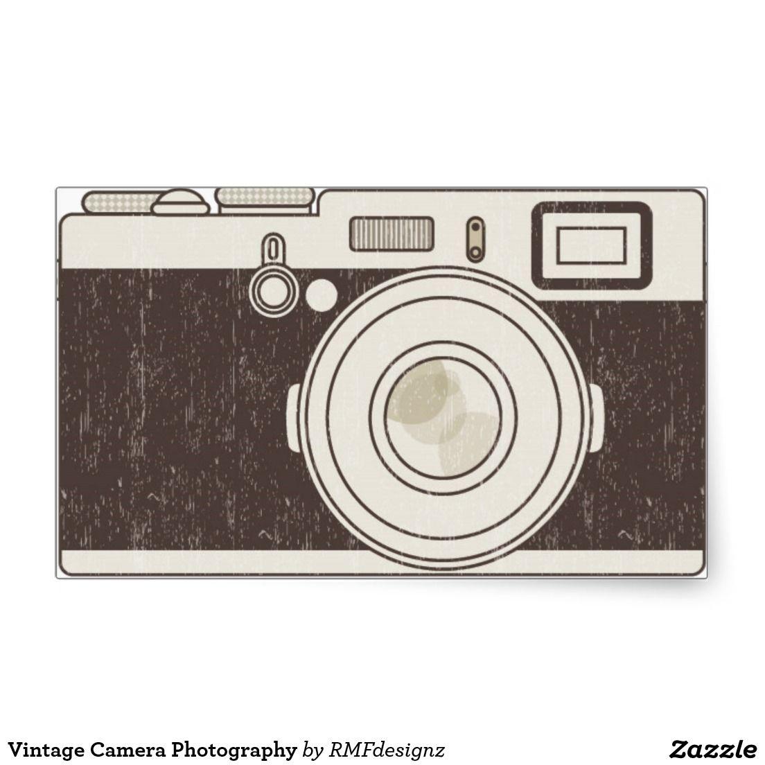 Vintage Camera Photography Rectangular Sticker.