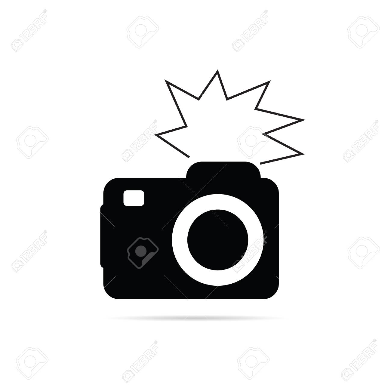 camera flash black and white vector illustration.