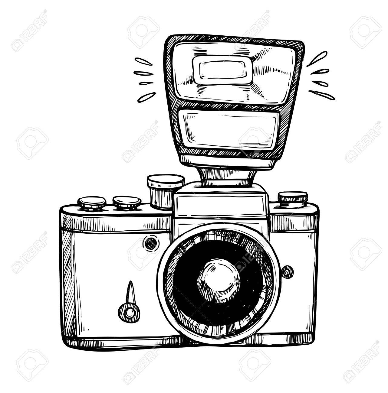 Hand drawn vector illustrations. Retro camera with flash. Photog.