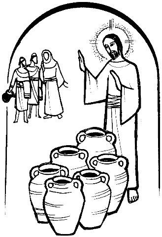 Jesus wedding at cana clipart.