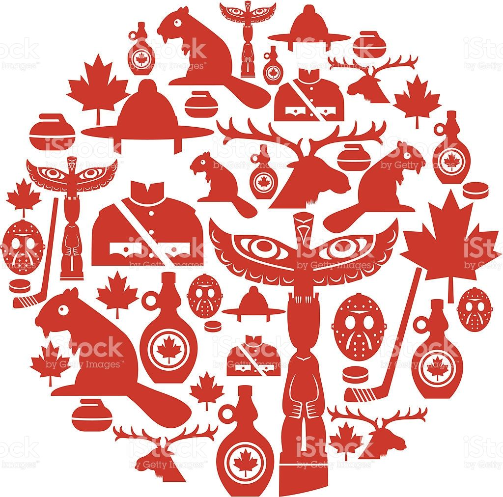 A set of Canadian themed icons. Click below for more travel.