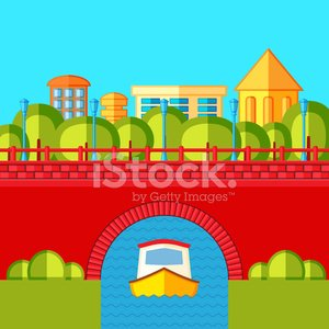 Urban landscape with a brick bridge , river and canal boat.