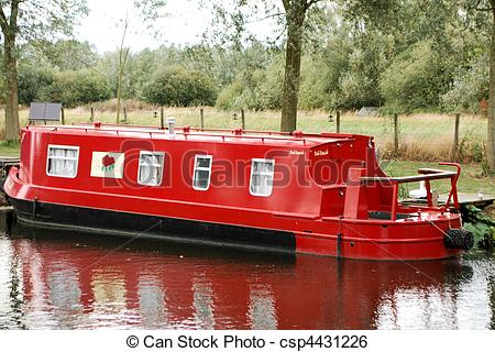 Stock Image of Red Canal Boat.