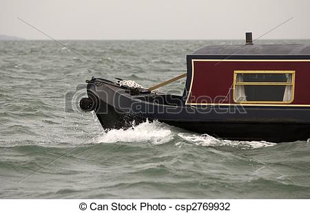 Stock Photo of Canal boat at sea.