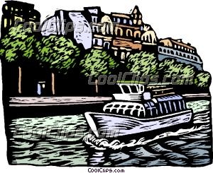 European boat cruise on canal Clip Art.