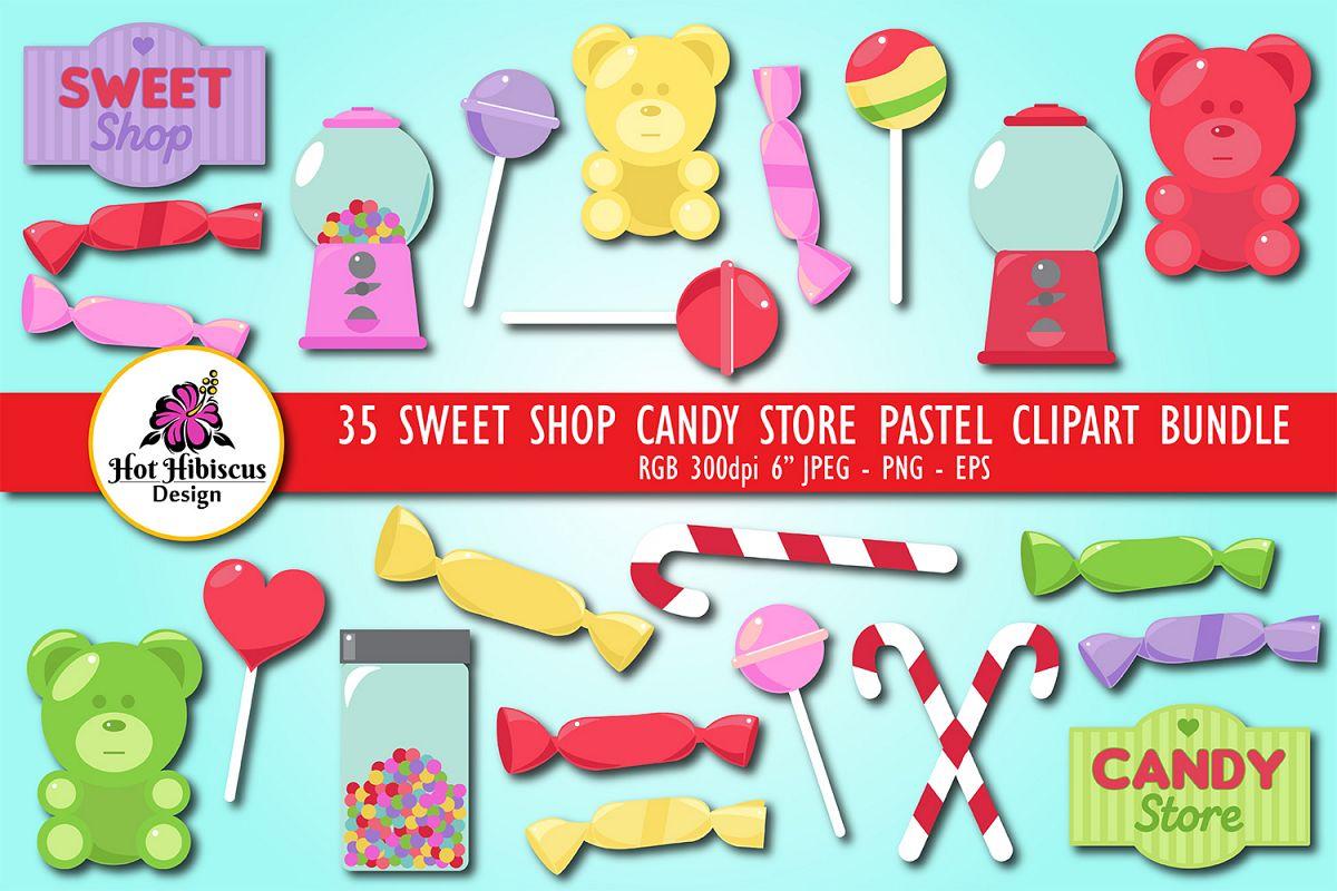 Sweet Shop Candy Store Pastel Coloured Clipart Bundle.