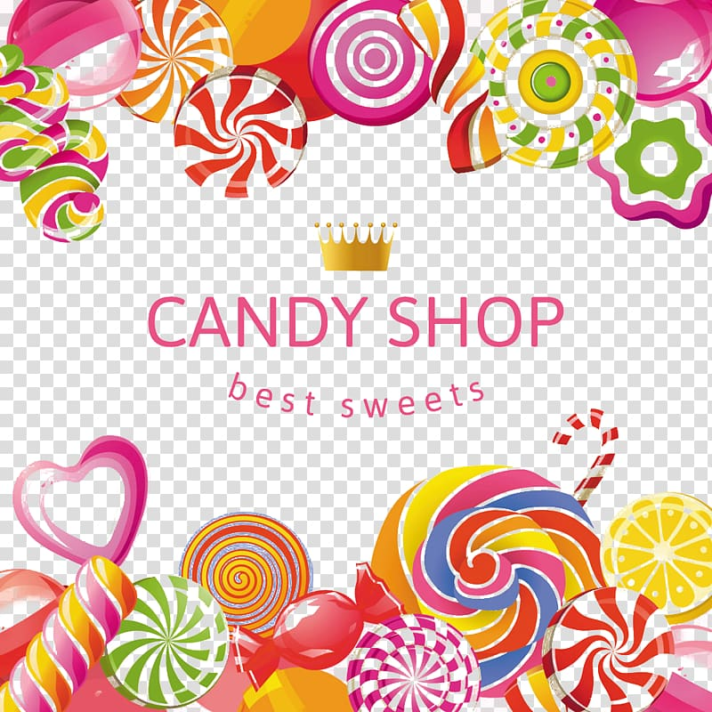 Candy Shop logo, Lollipop Candy Bonbon Confectionery store.