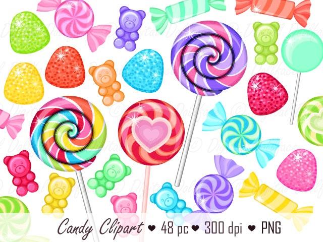 Candyland Clipart, Rainbow Candy Clip Art, Lollipop Images.