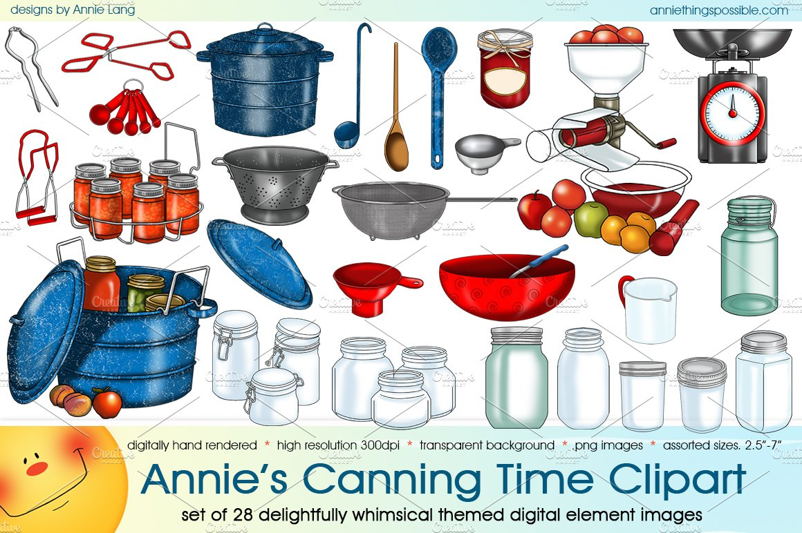 Annie\'s Canning Time Clipart ~ Illustrations ~ Creative Market.
