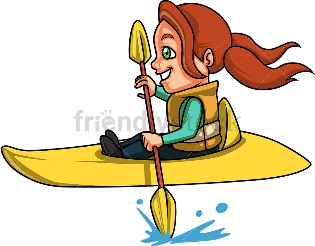 Little Girl Doing Canoe Kayak.