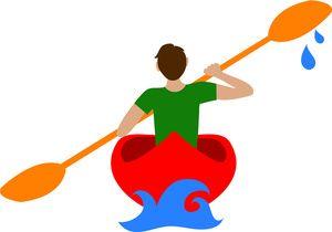 Canoe Clipart Image: Man Paddling a Canoe or Kayak on a.