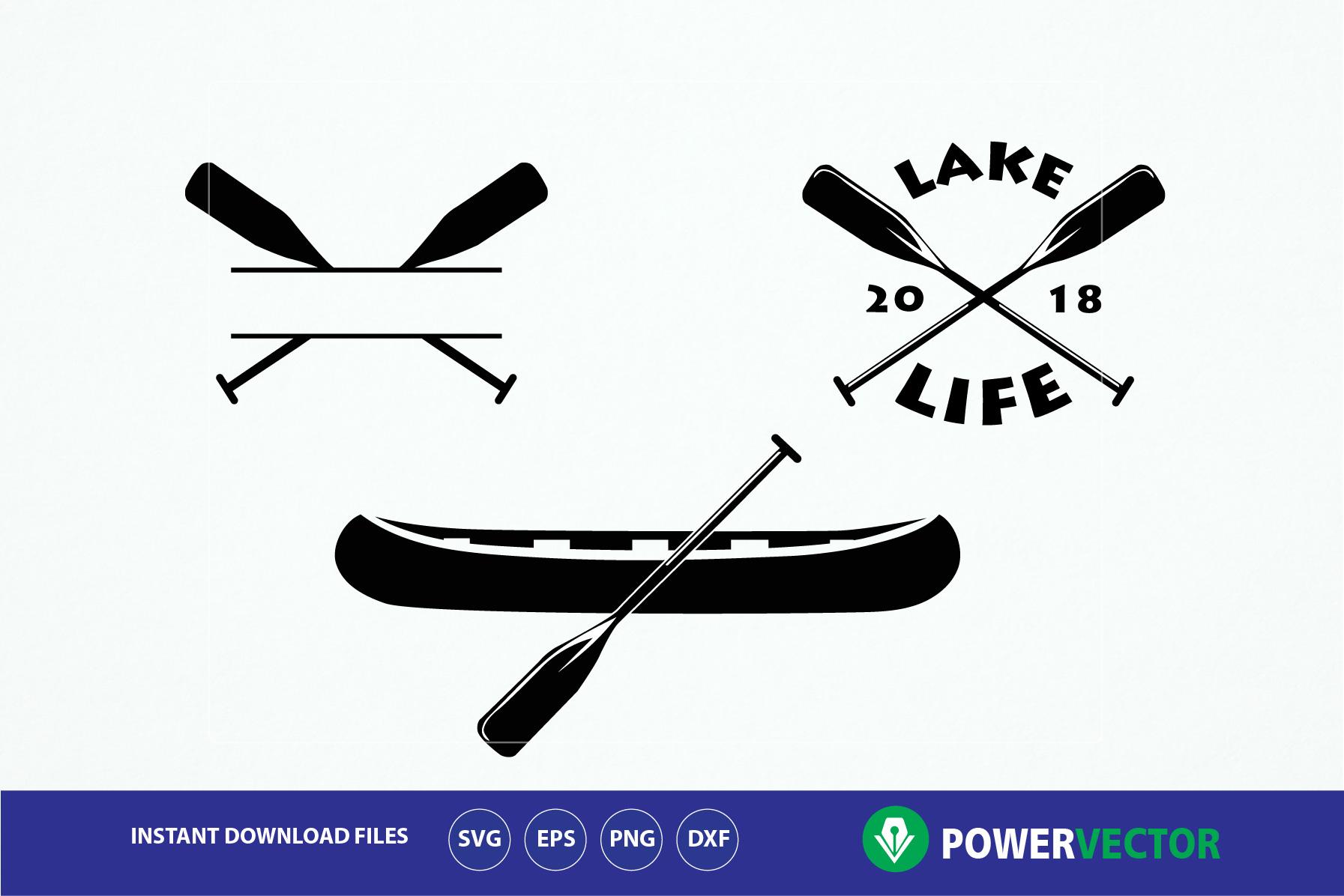 Lake Life SVG. Canoe Boat, Paddles Clip art.