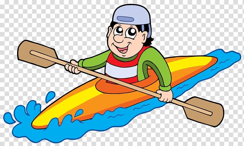 Man riding on kayak illustration, Kayak Canoe , People.