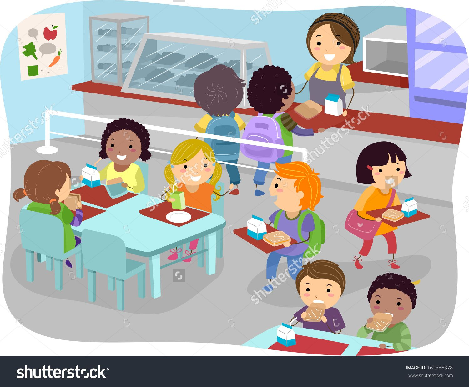 Illustration Of Kids In A Canteen Buying And Eating Lunch.