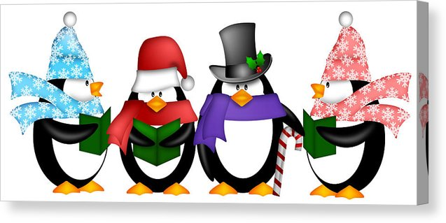 Penguins Singing Christmas Carol Cartoon Clipart Canvas Print.