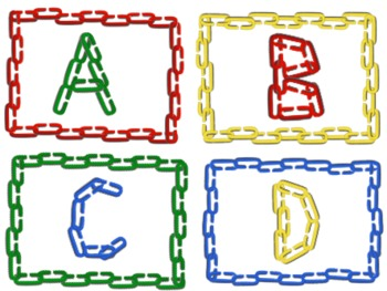 Alphabet Clip art: Capital Letters with Linking Chains and 4 Linking Frames.