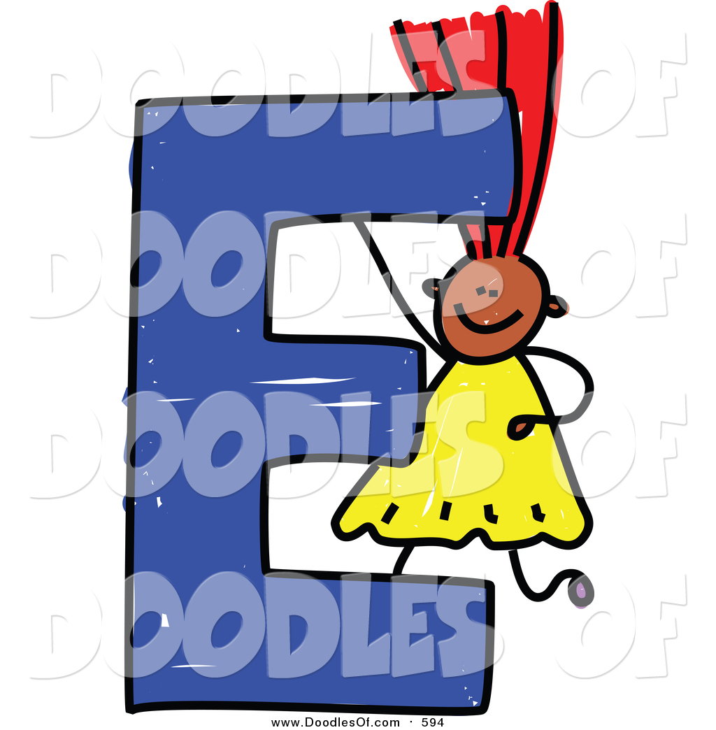 Vector Clipart of a Doodled Red Haired Black Girl with a.
