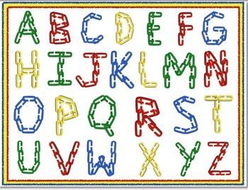 Alphabet Clip art: Capital Letters with Linking Chains and 4.