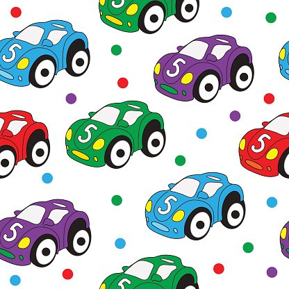 Children\'s toy car seamless texture. Car background.