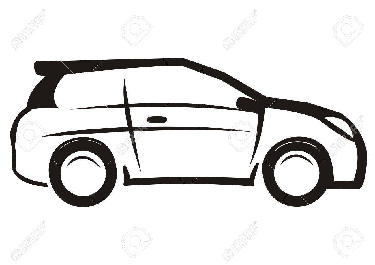car, black and white sketch, vector icon.
