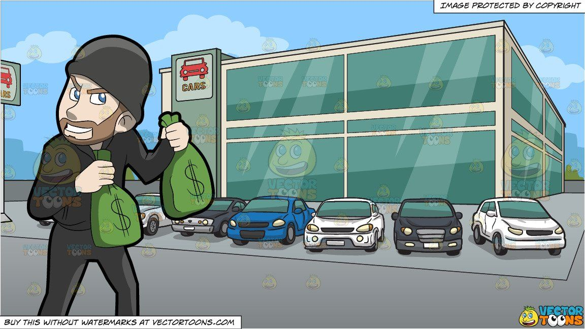 clipart #cartoon A Greedy Robber Carrying Bags Of Money and.