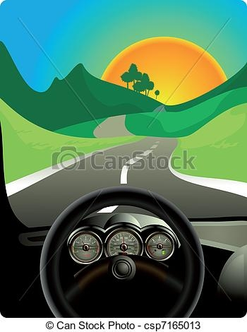 Car Driving On Road Clipart.
