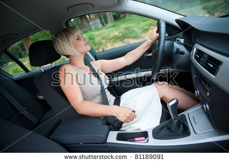 Attractive Woman Car Using Hand Brake Stock Photo 81189091.