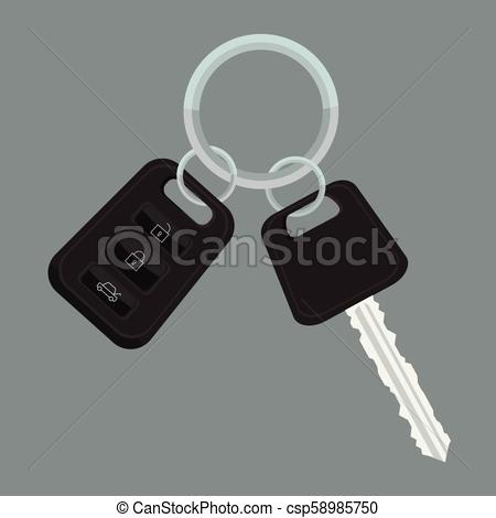 Vector Car keys with flat and solid color design..