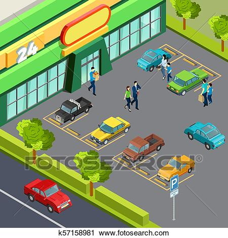 Supermarket With Car Parking Clipart.