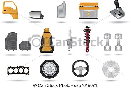 Vector Clip Art of Detailed car parts illustrations set csp7619071.