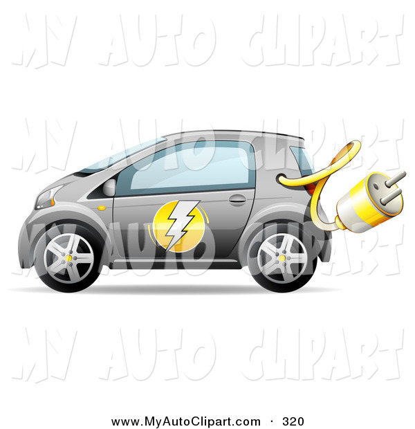 Clip Art of a Gray Compact Electric Energy Efficient Car with the.