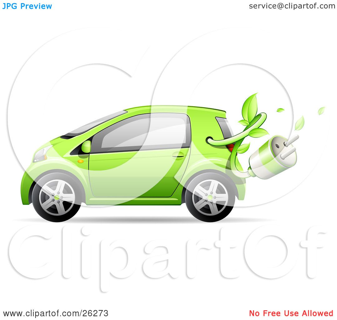 Clipart Illustration of a Cute Green Compact Car Resembling A.