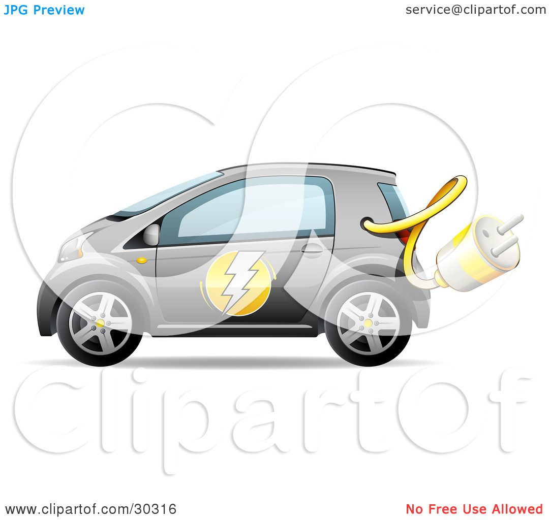 Clipart Illustration of a Gray Compact Electric Car With The Power.