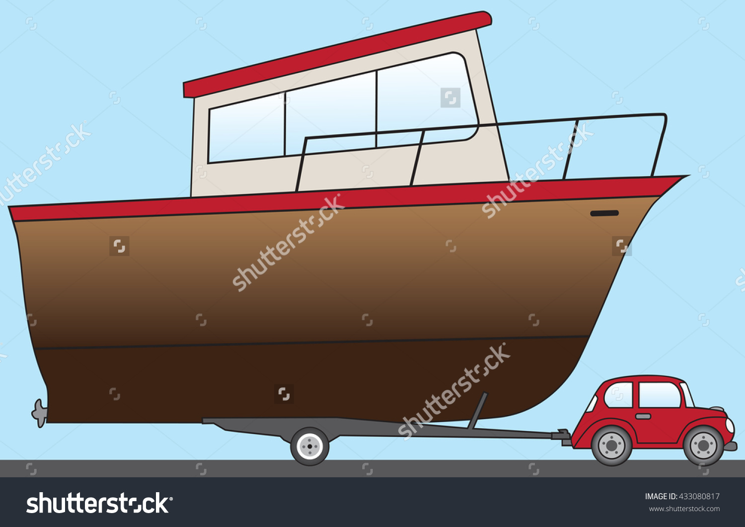 Big Boat Being Towed Water By Stock Vector 433080817.