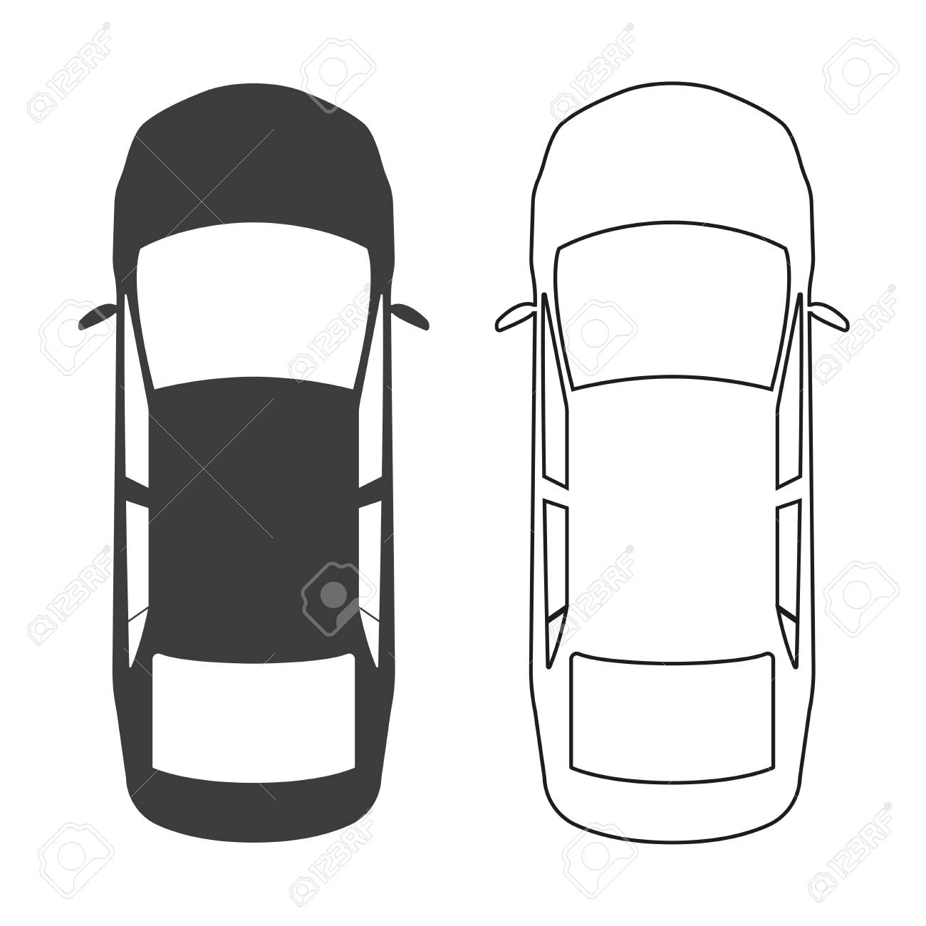 Car icon. Top view. Vector illustration..