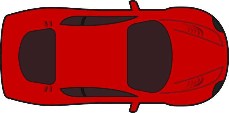 Free Clipart: Red racing car top view.