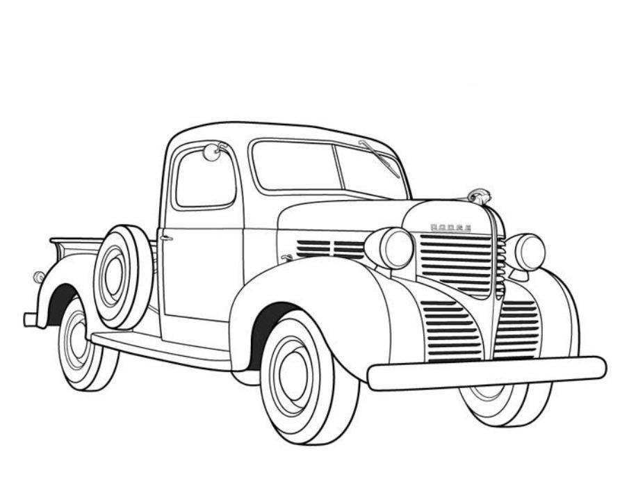 Dodge Pickup 1939 Old Car Coloring Pages.