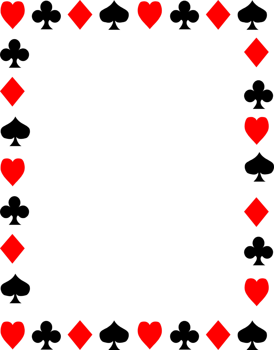 Free clip art of red and black playing card suits.