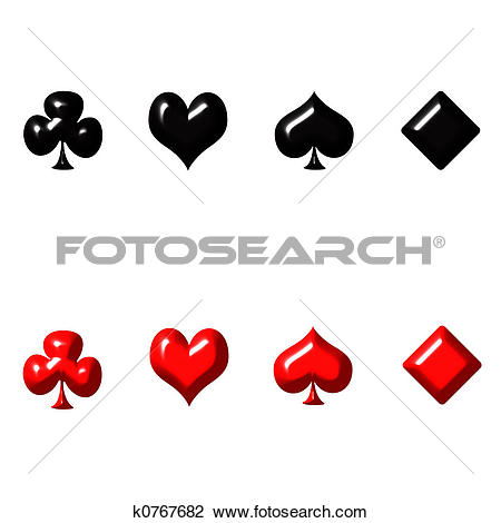 Clip Art of 3D Playing Card Suits k0767682.