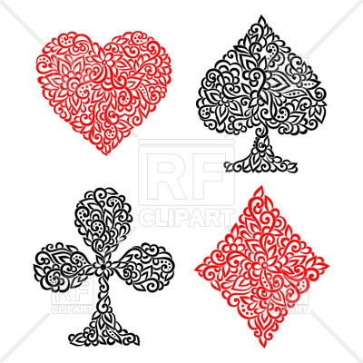 Playing card suits made of floral ornament Vector Image #29604.