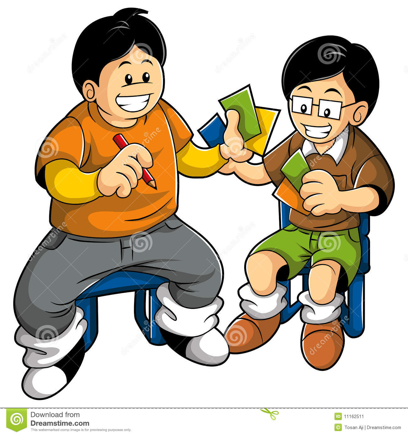 Kids Playing Cards Clipart.