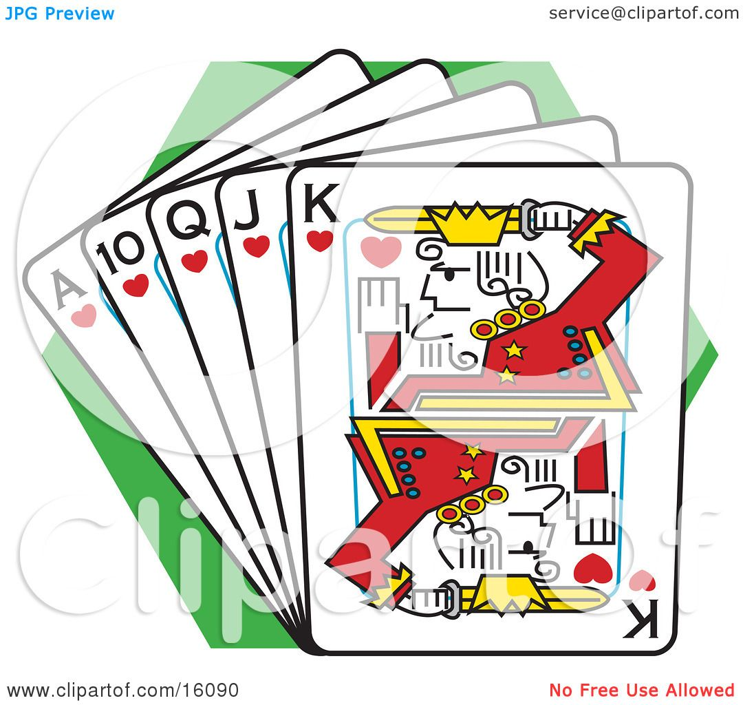 Straight Flush Of Playing Cards Clipart Illustration by Andy.