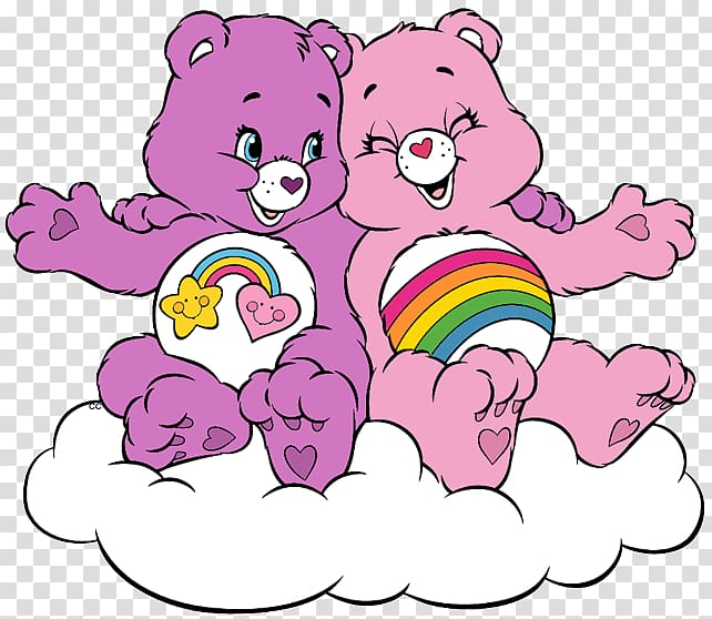 Purple and pink Care Bears riding on cloud illustration.