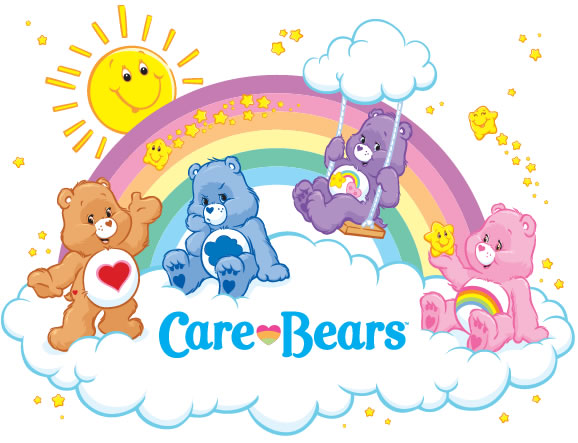 Care Bears With Clouds And Rainbow Clipart.