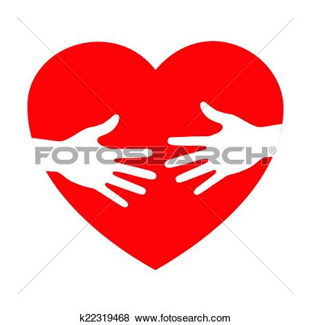 Clip Art of heart icon with caring hands k22319468.