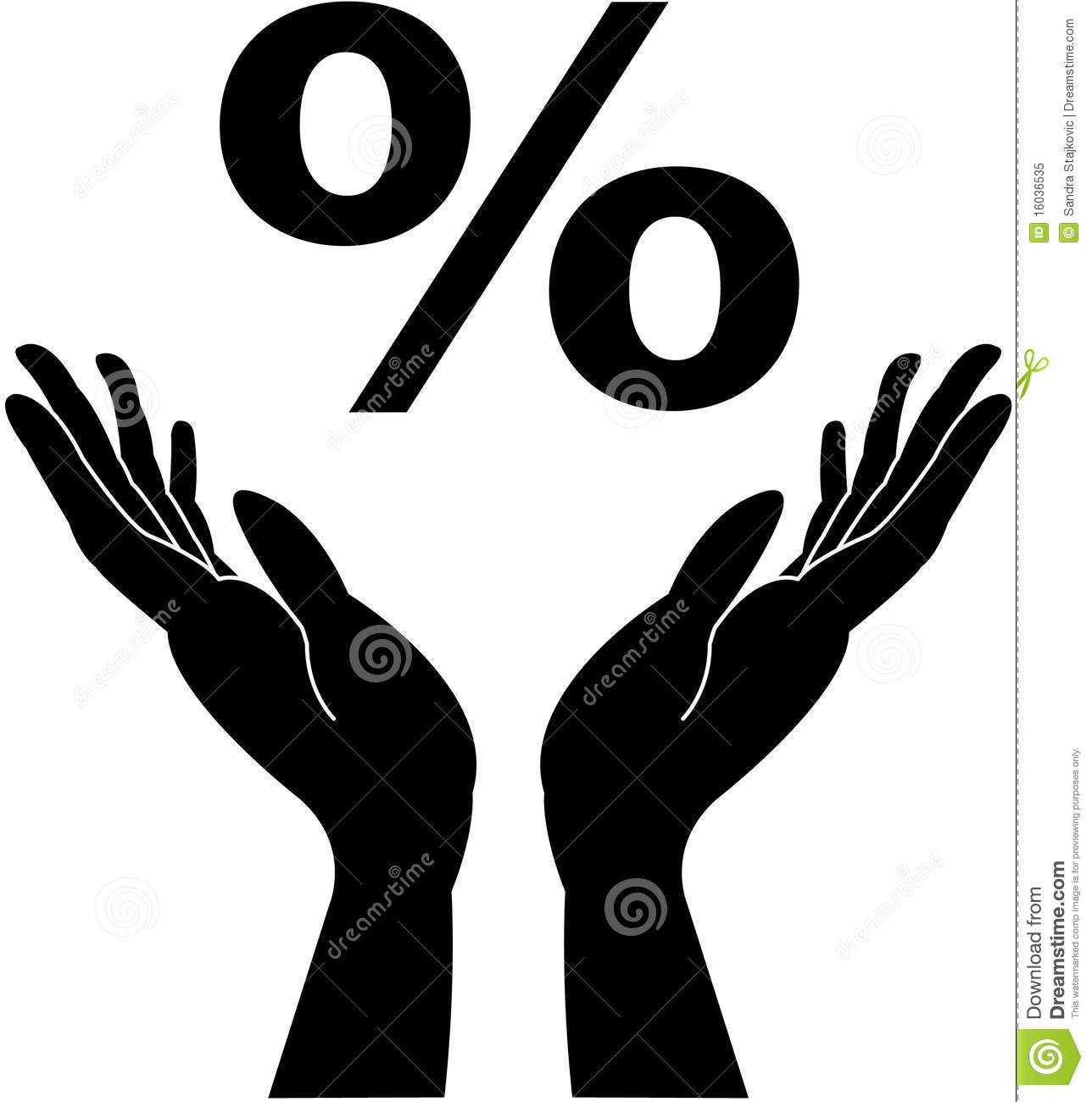 Caring Hands And Percentage Sign Royalty Free Stock Photo.